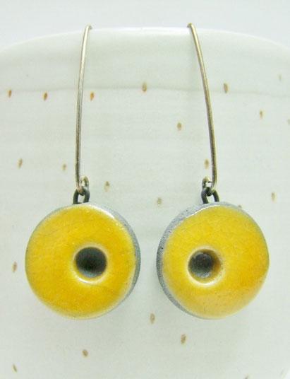boucles d'oreilles  jaune monture argent 925