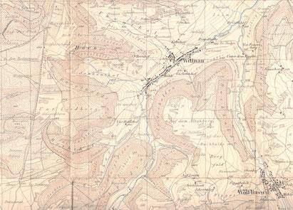 Ausschnitt aus der Siegfried-Karte, Blatt 34, nachgeführt bis 1913, gedruckt 1926.