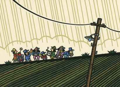 リンク画像:イラスト作品「尾形亀之助詩集より黄色い雨が降り注ぐ」