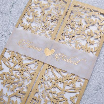 Lasercut Karte, Banderole, Transparentpapier, Heißfolie, Gold