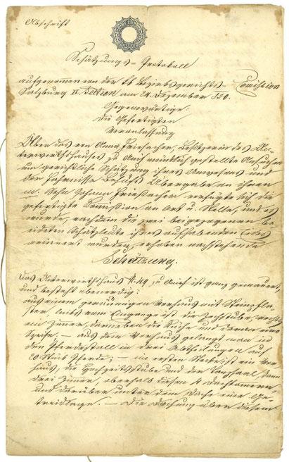 Abschrift der Schätzungsurkunde über das Anwesen in Anif aus dem Jahr 1856, das Original war aus dem Jahr 1850, die Abschrift ist im Familienbesitz. Sie wurde anlässlich der Übernahme durch Johann II erstellt.