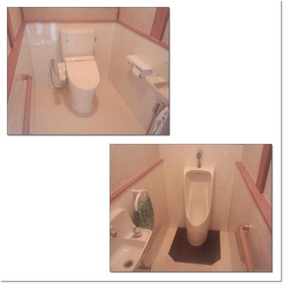 和式のトイレから腰掛便器に、小便器を新しく取替てトイレリフォーム