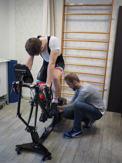 bikefit, Sitzpositionsvermessung, Leistungsdiagnostik, Trainingssteuerung, Trainingsplanung, Stufentest Bike fitting bei Medisport Betreuung