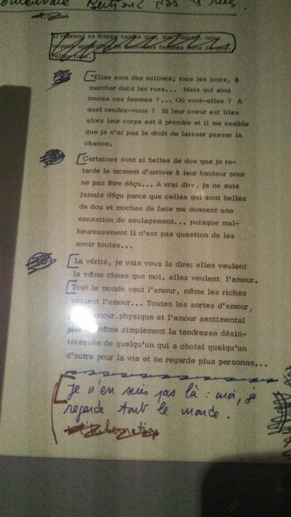 """""""La vérité, je vais vous la dire; elles veulent la même chose que moi, elles veulent l'amour""""  Manuscrit, cinémathèque française"""