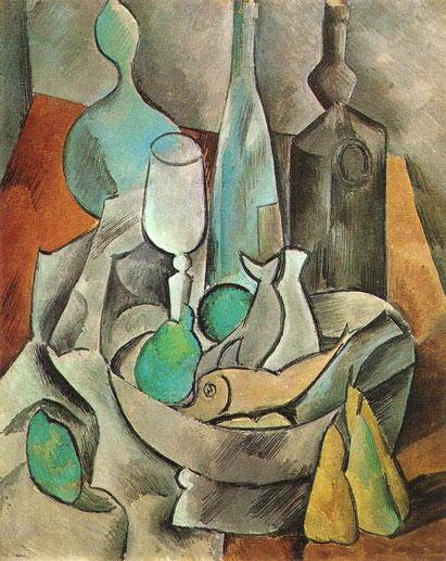 Pablo Picasso: Nature morte avec poissons et bouteilles (1908)