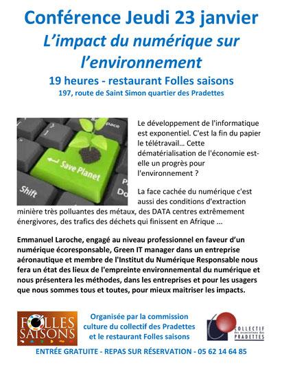 Conférence 23 janvier l'impact du numérique sur l'environnement
