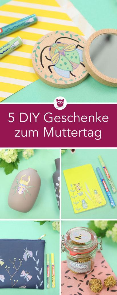 [Werbung] 5 DIY Geschenkideen zum Muttertag mit den edding Glanzlackmarkern: Handspiegel verzieren, Rezept Energie Balls, Kunstleder bemalen Reißverschlusstäschchen / Kosmetiktasche, Vasen gestalten, Notizheft gestalten. Bastelanleitungen von DIY Eule.