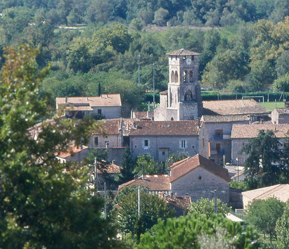 vue de Ruoms en sud Ardèche