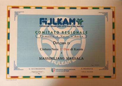 diploma cintura nera 1° dan karatè Massimiliano Marsala.