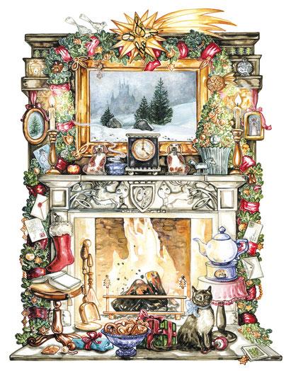 Illustration weihnachtlicher Kamin mit offenem Feuer Aquarell © Caroline Ronnefeldt
