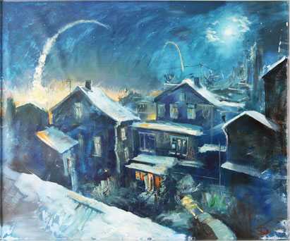 """Dolondutsky Alexandr, """"Letzte Salut"""", Öl auf Leinwand,  100 x 120 cm, 2012, gerahmt"""