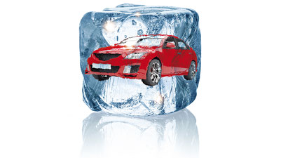 Ein Pkw ist ein einem Eiswürfel eingefroren. / Bildquelle: BOSCH Service