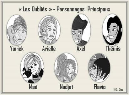 """dessin des personnages principaux du livre """"Les Oubliés"""" par Quentin Diaz"""