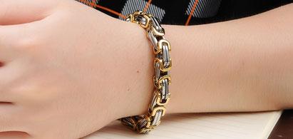 Königsketten-Armband, Gold-Silber, aus solidem Edelstahl / Armband Königsketten-Stil