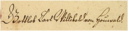 Signum Gottlob Carl Wilibald von Houwald, 1784.
