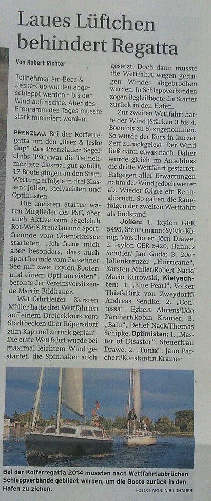 Prenzlauer Zeitung vom 04. September 2014