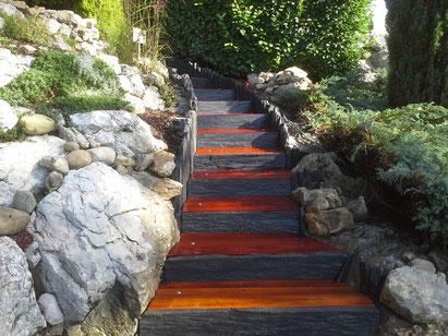 Escalier en traverses chêne Villaz