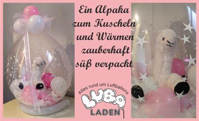 Verpackungsballon Alpaka in rose und weiß Luba-Laden Stegaurach