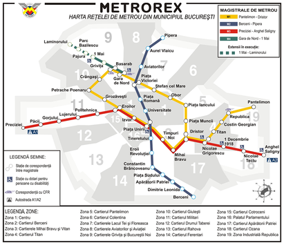 Mappa di Metropolitana di Bucarest