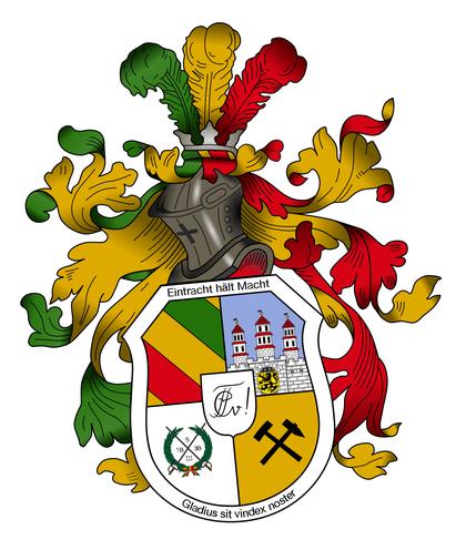 Das Wappen unseres Corps zeigt unsere Farben Grün-Gold-Rot, das Wappen der Stadt Freiberg, Schlägel und Eisen als Symbol des Bergbaus, den Blätterkranz mit dem Stiftungsdatum und in der Mitte unseren Zirkel.