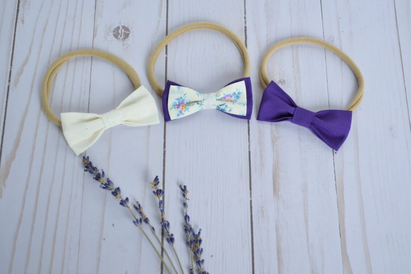 Trio of Ultra Violet floral bows