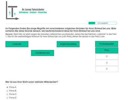 Seite einer Online-Kundenbefragung