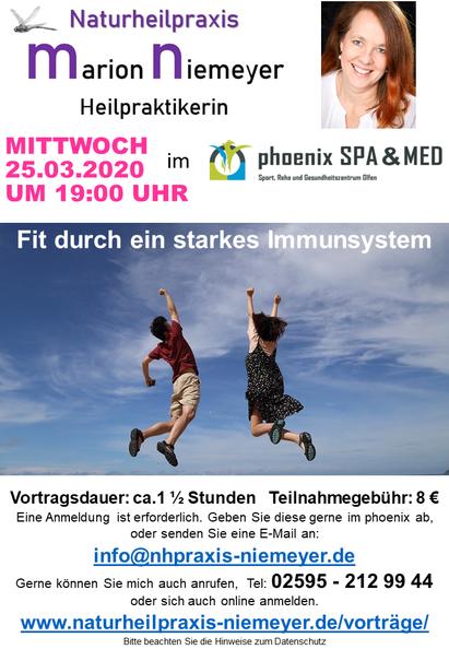 Vortrag Immunsystem stärken am 25.03.2020 im phoenix in Olfen. Heilpraktikerin Marion Niemeyer