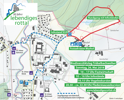 Karte mit Haltestellen und Parkplatz, zum Herunterladen