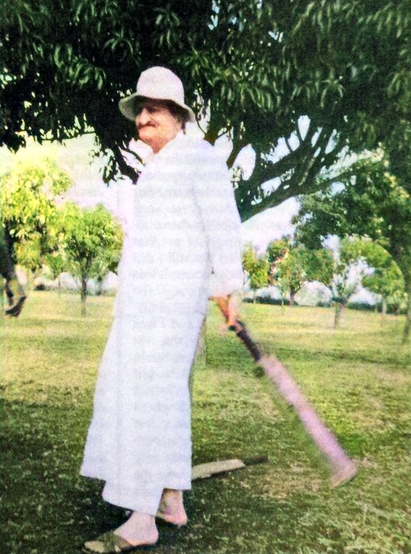 Meher Baba playing cricket. Image colourized by Anthony Zois.