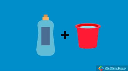 liquide vaisselle et seau d'eau