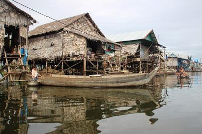 Village de pêcheurs sur le lac Tonle Sap