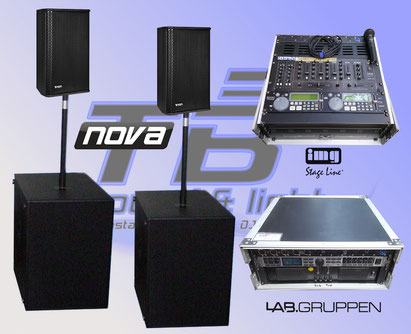 PA mieten in Bonn! Nova VS12m inklusive zwei Subwoofer und 4-Kanal Endstufe mit Controller