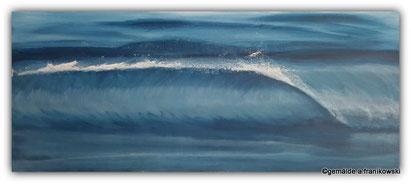 Meeresgemälde mit einer Welle in Indgo Blau Gemalt, Meerbild online kaufen.
