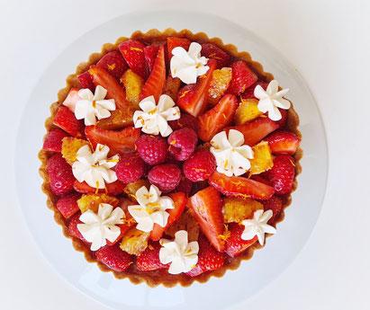 tarte fraises framboises orange pistache