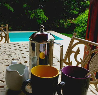 Morning coffee on our private balcony at the Bahia Mar Boutique Hotel, Vilankulo - Dante Harker