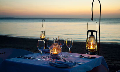 Our romantic candlelit dinner on the beach at Azura Benguerra, Mozambique. Dante Harker