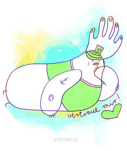 Zeichnung eines liegenden nachdenklichen Seemannes