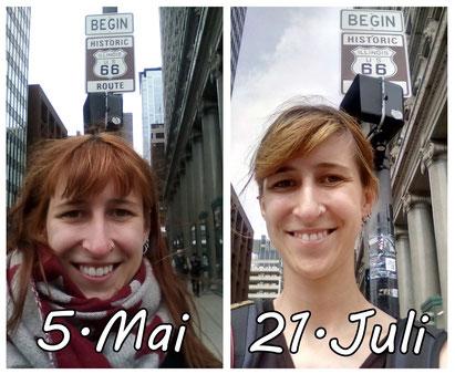 Vergleich zwischen dem Start an der Route 66 in Chicago und der Ankunft 11 Wochen später