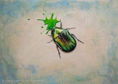 realistisch malen mit Acryl - Der schimmernde Käfer, Bild 5