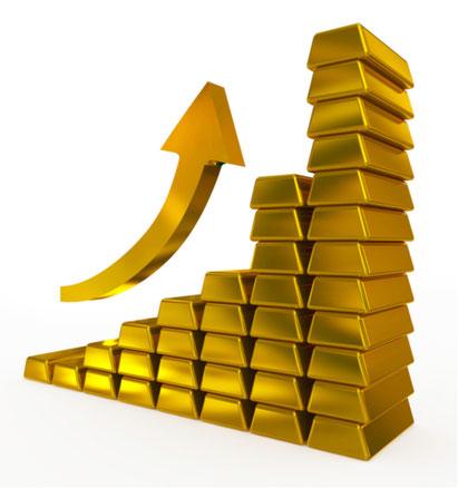 Goldbarren, welche so aufgeschichtet sind, dass sie von links nach rechts ansteigen