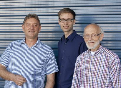 Drei Generationen: Hans-Reinhard, Christoph und Johannes Müller (v. l. n. r.)