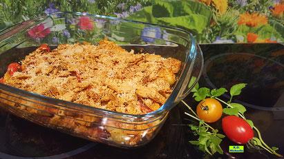 Rezeptvorschau auf Dinkel-Dreams 3 für selbstgemachten Kartoffel-Gnocchi-Auflauf mit Salsiccia und einer Knusper-Kruste aus Tortilla-Chips mit Käse überbacken von K.D. Michaelis