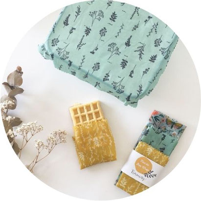 Cette image représente 3 Bee Wrap destiné à l'emballage alimentaire