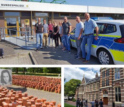 Ortstermin beim Grenzüberschreitenden Polizeiteam um Martin Lampen und Oliver Hesener (oben). Anschließend besuchte die Seminargruppe das Lager Westerbork (links unten) und die Stadt Assen. Bilder: Ulrichs