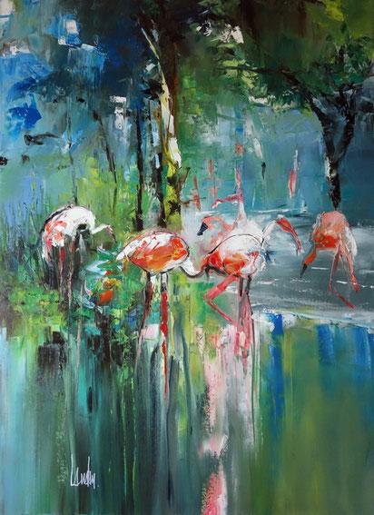 """Flamingo beach"" - 100x73"