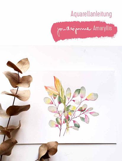 aquarell, malen lernen, aquarell anleitung, amaryllis aquarell, kostenlose aquarellanleitung, aquarell für fortgeschrittene, malkurs berlin
