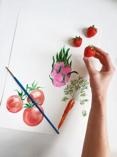 Geschirrhandtuch, Textildesign, Stoffdesign, Stoffmuster, Muster entwerfen, Teatowel, Geschirrtuch, selbst designen, Spoonflower, Aquarell malen lernen, Gemüse mit Aquarellfarben malen, food illustration, essen illustrieren, youdesignme