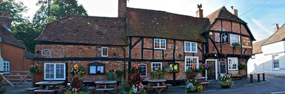 The Plume of Feathers pub with outdoor seating