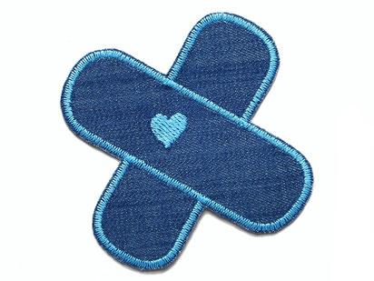 Bild: Flicken zum aufbügeln Hosenpflaster, Jeansflicken mit Herz blau