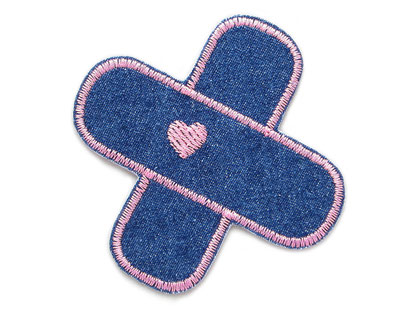 Bild: Jeansflicken Aufbügler Hosenpflaster, Hosenflicken mit Herz rosa, Jeansflicken Pflaster